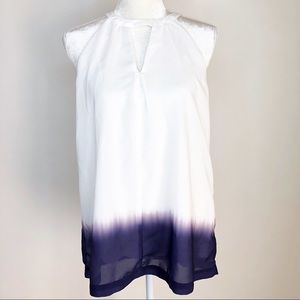 Banana Republic white purple ombre tie-dye tank